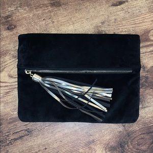 Merona velvet black clutch with pockets and tassel